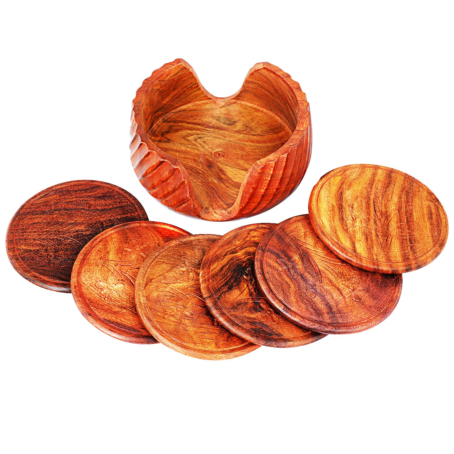 Wooden Drink Coasters Set of 6 With Holder For Drinks Beverages Glasses Tea Cup Coffee Mug Natural Handcrafted Tabletop Protection From Spills & Marks Rustic Style Large Round Non Slip 4 Inches by The Great Indian Bazaar (Image #4)