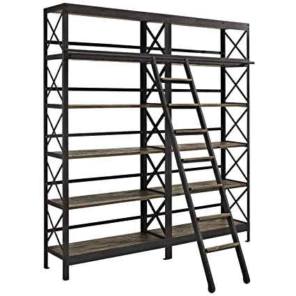 buy popular acc7a e755a Modway Headway Industrial Modern Wood Bookshelf With Ladder in Brown