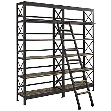 buy popular 9c46b 5dd99 Modway Headway Industrial Modern Wood Bookshelf With Ladder in Brown
