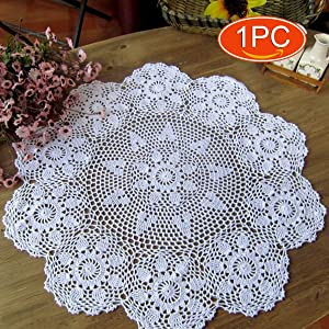 Elesa Miracle 22 Inch 1pc Handmade Round Flower Crochet Cotton Lace Table Placemats Sofa Doilies Value Pack, Floral Hoop (1pc-22 Inch White)