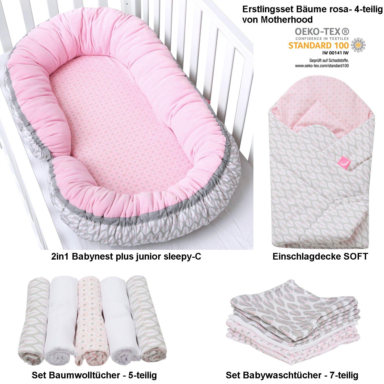 Erstlingsset Motherhood, Geschenk zur Geburt Mädchen - Bäume rosa