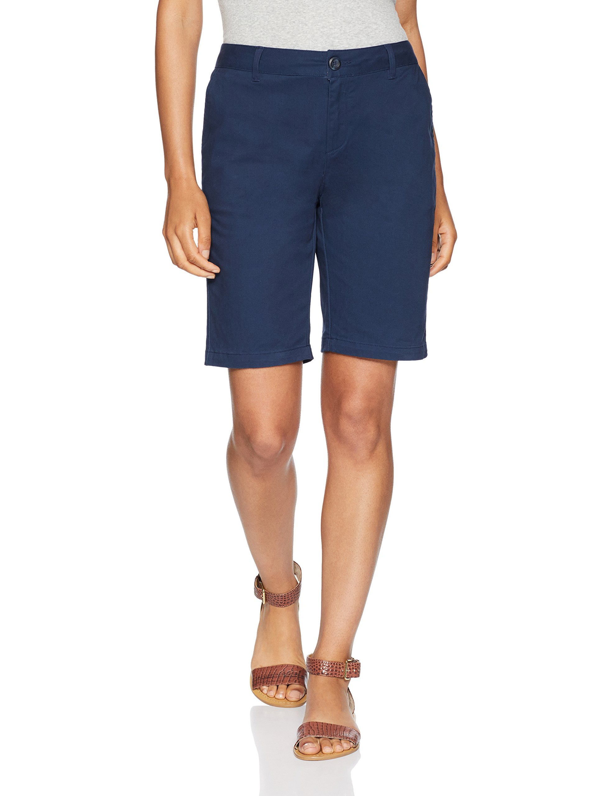 Amazon Essentials Women's 10'' Inseam Solid Bermuda Short Shorts, Navy, 12 by Amazon Essentials