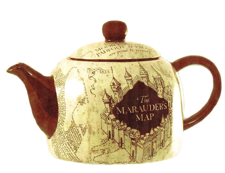 seven20 HP04863 Harry Potter Marauder's Map Ceramic Teapot, Standard Size, Burgundy