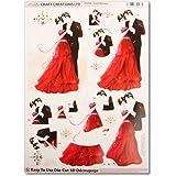 Carterie 3D A4 - Couple mariés noir et rouge