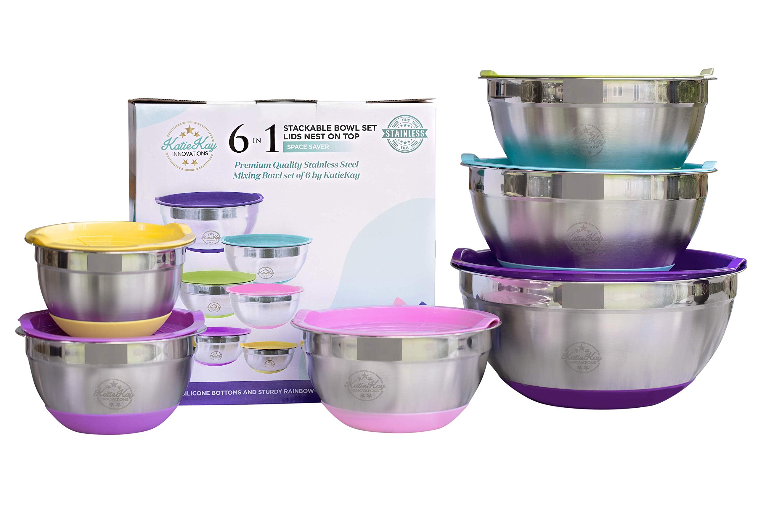Premium Stainless Steel 6-Piece Mixing Bowl Set by KatieKay-Extra Thick .5mm Steel-1-1.5-2-3-4-6 Qt-Stackable Non-Slip Silicone Bottoms-Airtight Rainbow-Colored Lids-Give Gifts-Prep Recipe-Make Bread by KatieKay