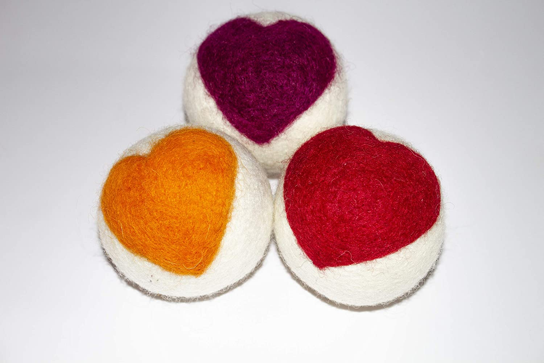 Wool Dryer Balls XL,100% New Zealand Wool, All Natural Fabric Softener, Handmade, Fair Trade, Eco Gifts, Baby Shower Gifts, Hypoallergenic, Reusable Wool Dryer Balls, Cute Hearts Wool Balls 3Pk