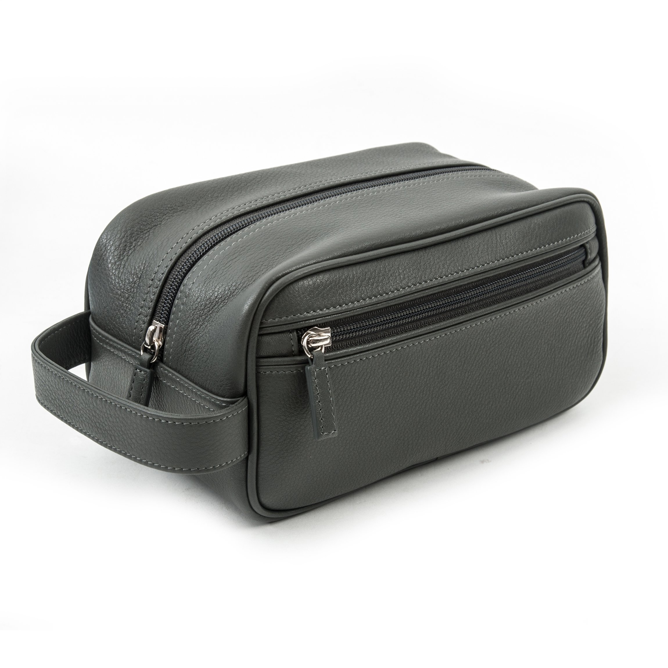 Leatherology Small Shave Toiletry Bag - Full Grain Leather Leather - Charcoal (gray)