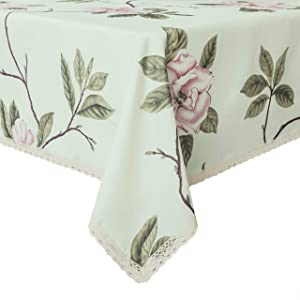 Wewoch Decorative Floral Print Polyester Rectangle Tablecloth Waterproof Fabric Lace Table Cloth, Table Cover for Dining Room and Party (60x84-Inch, Pale Green)