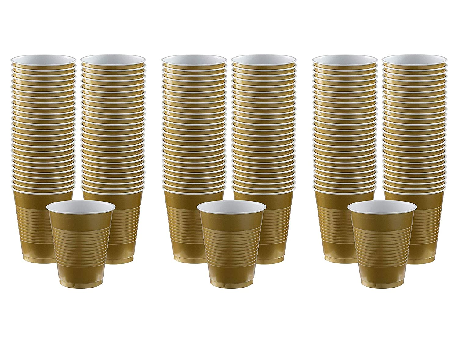 Big Party Pack Gold Plastic Cups 12oz | Pack of 50 Party Supply