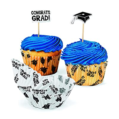"Fun Express Graduation Cupcake Liners with Picks (100 Picks and 100 Cupcake Liners) ""Congrats Grad\"" and Graduation Cap, Party Supplies and Decorations: Childrens Party Cups: Kitchen & Dining [5Bkhe0302682]"