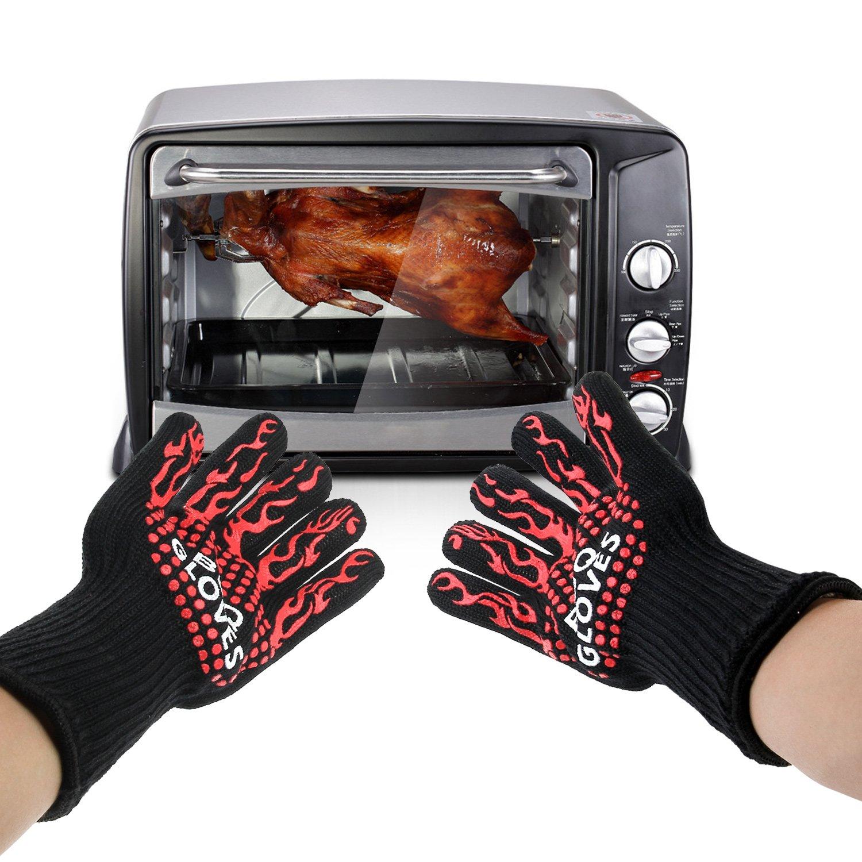 Guantes del horno Danibos térmico de la calidad de cocción guantes guantes de horno manoplas resistentes a las manos con guantes de silicona para parrillas ...