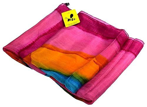 Bees Knees Fashion - Bufanda - Impresión rosada azul muy fino pañuelo de seda largo Gogo