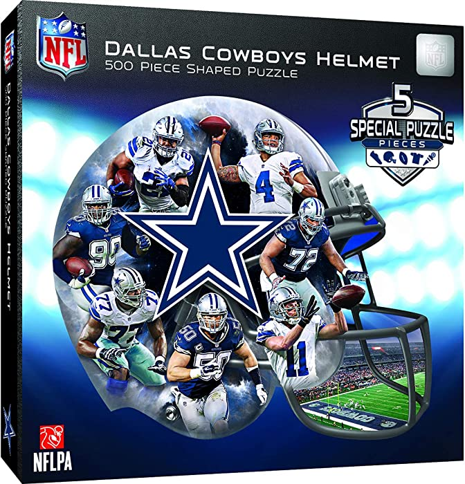 Masterpieces 91668 Dallas Cowboys Helmet Shaped Puzzle - 500 Pieces