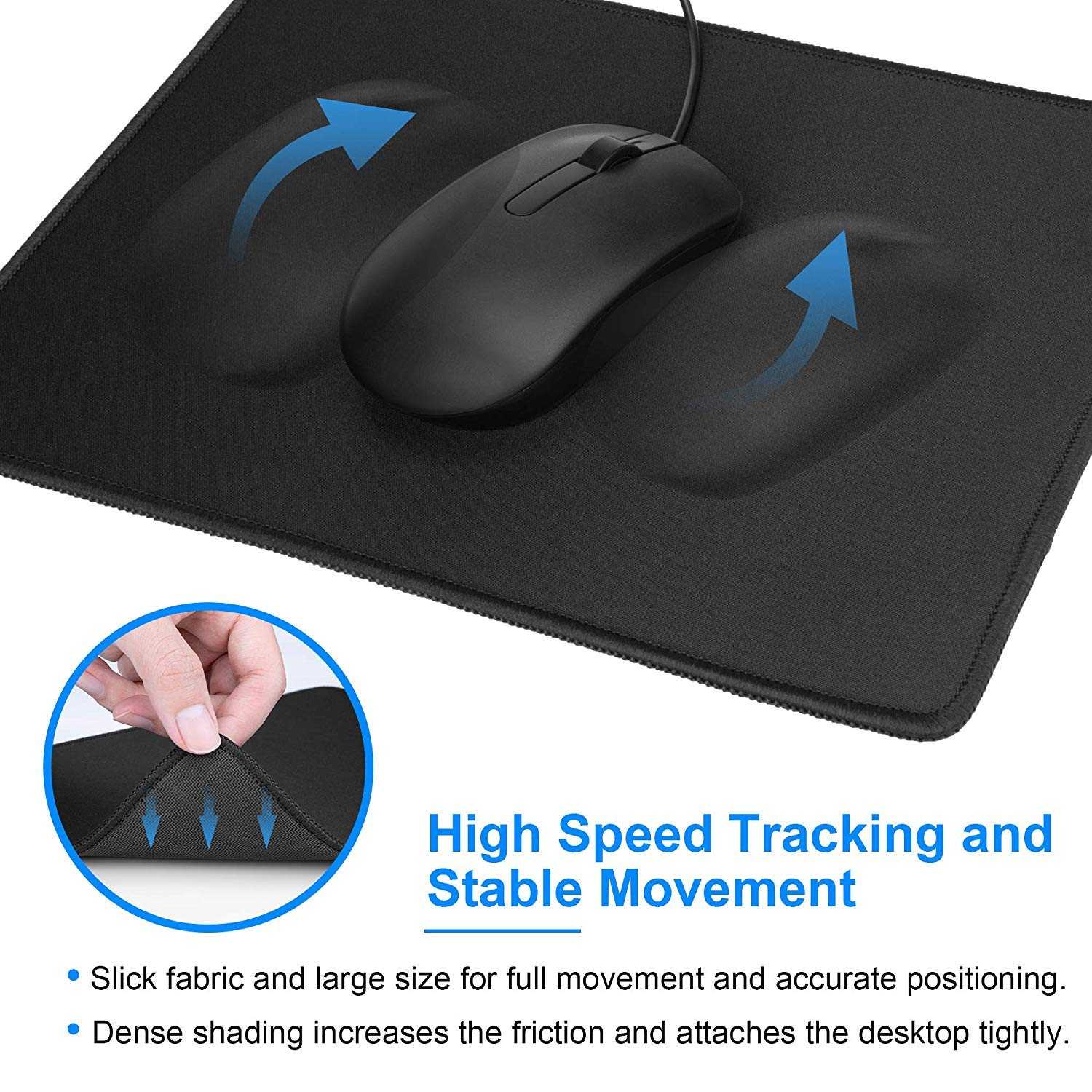 3 Pack Laptop 11 x 8.5 inches Black MROCO Mouse Pads Pack with Non ...