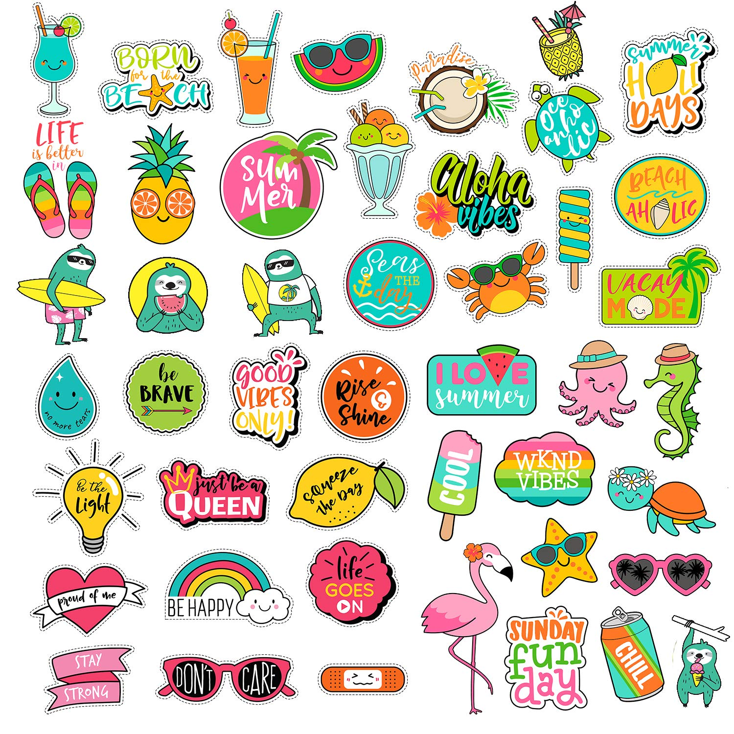 Aesthetic Stickers 47pcs Lovely Trendy Cute Laptop And Water Bottles Scrapbooking Decal Sticker Pack For Teens Girls Feminists Women Waterproof