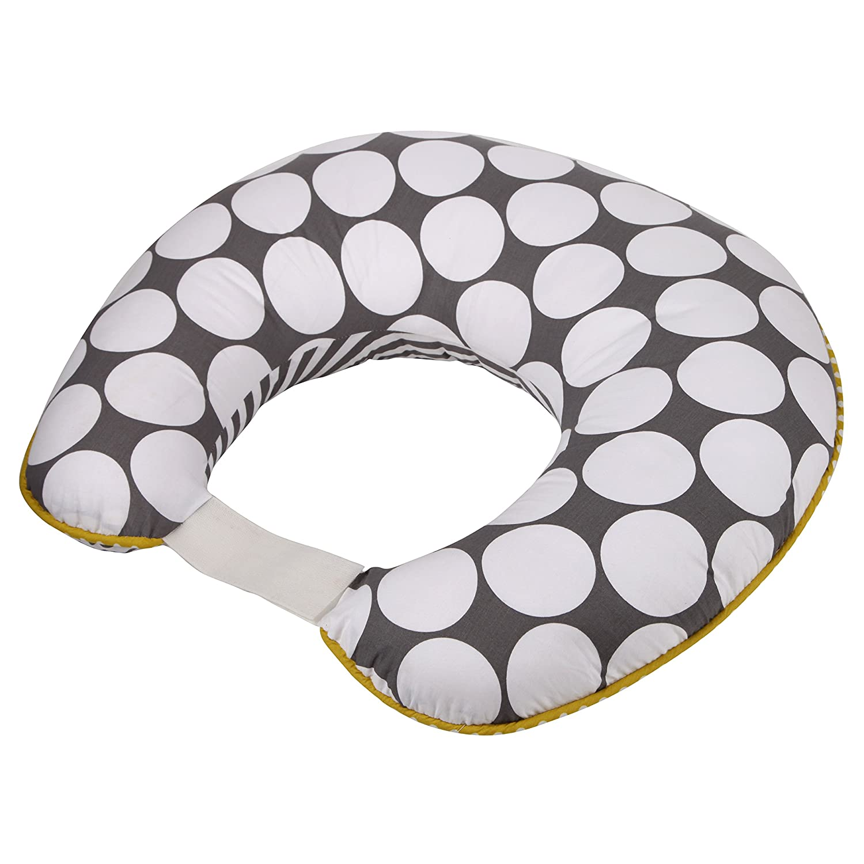 Dots/Pin Stripes Grey/Yellow Nursing Pillow Cover by Bacati   B00KUKPRMQ