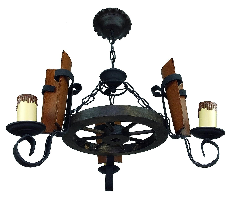 Lámpara rustica fabricada con rueda de carro y 3 luces con tejas. Diámetro total 55 cm.