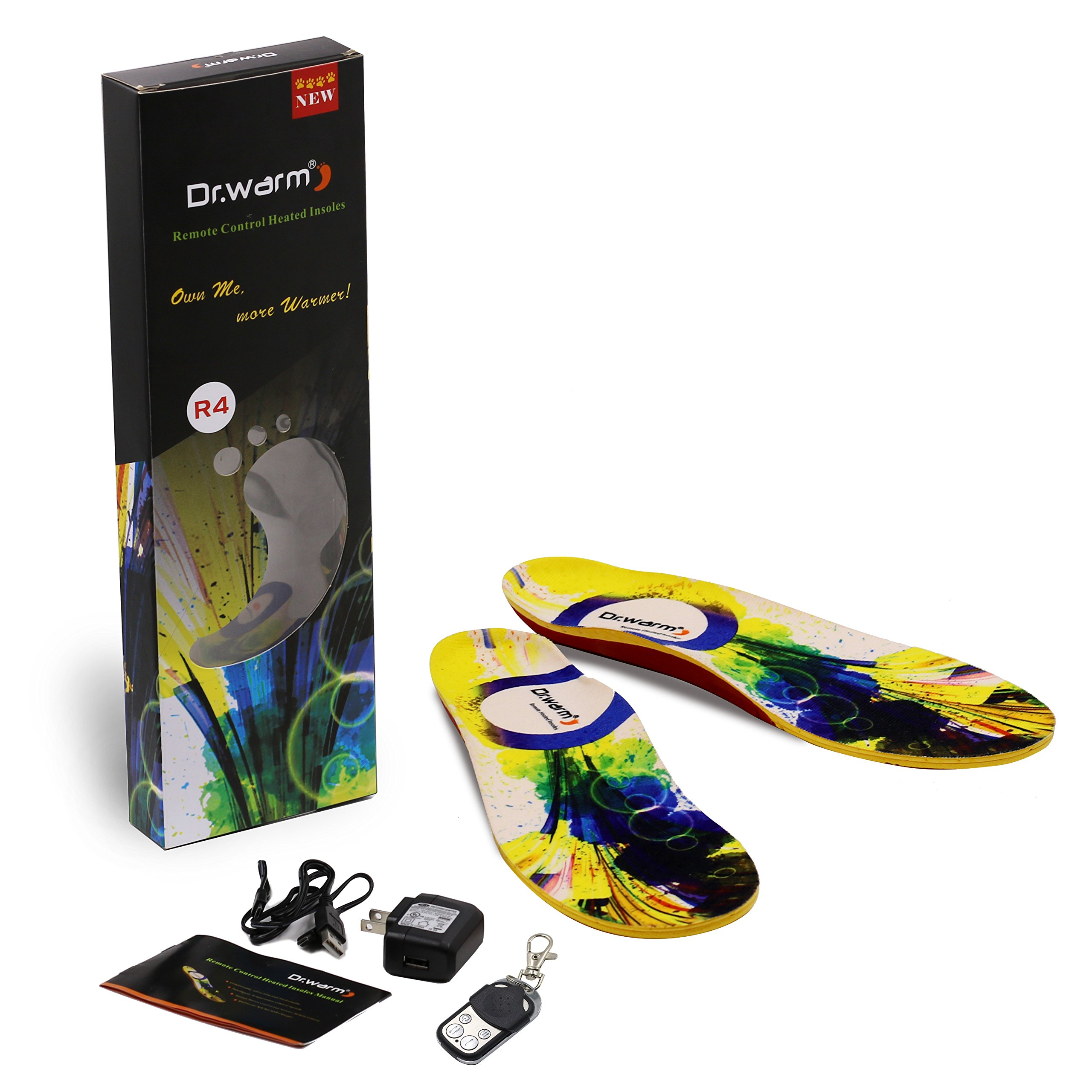 Heated Insoles Rechargeable-Dr.warm Heated Insoles With USB Charging Wireless Remote Control-Foot Warmer for Hunting Fishing Hiking Camping [XL]
