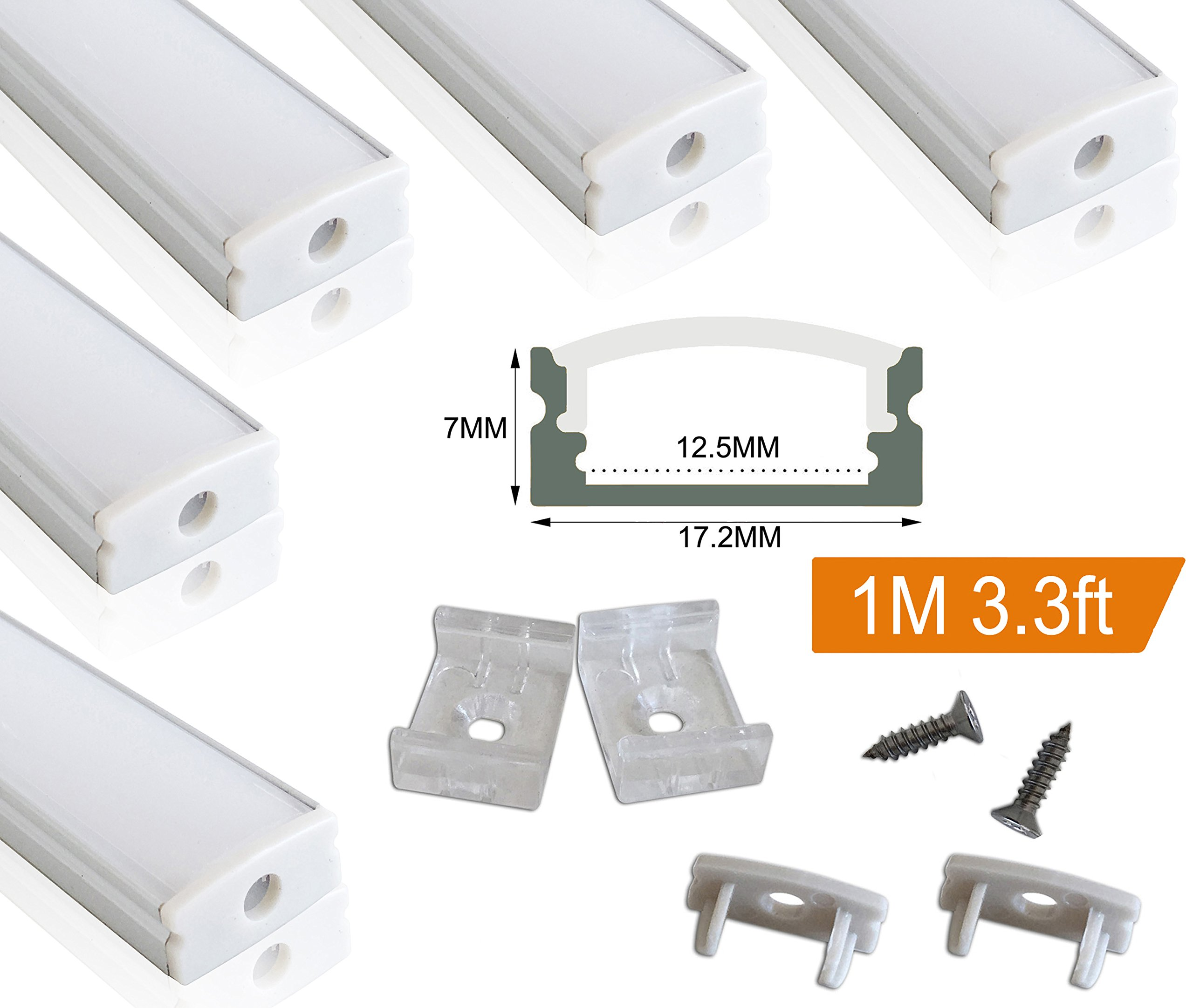 Muzata 5 PACK 1M/3.3ft Aluminum LED Channel for LED Strip Lights, Easy to Cut, U-Shape Aluminum Profile with All Accessories for Easy Installation