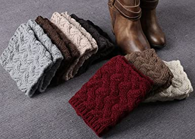 Vellette Scaldamuscoli Donna caldo Maglia Gamba Calze Stivali Cover di Invernouncinetto Leg scalda scarponi Inverno Calzini