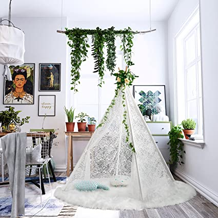 buy popular 431ff bdb17 UKadou Kids Teepee Tent for Girls Teepee Play Tent, White Luxury Lace  Teepee, Toddler Teepee Girls Indoor Tent Baby Girls Playhouse, Girls Tent  Indoor ...