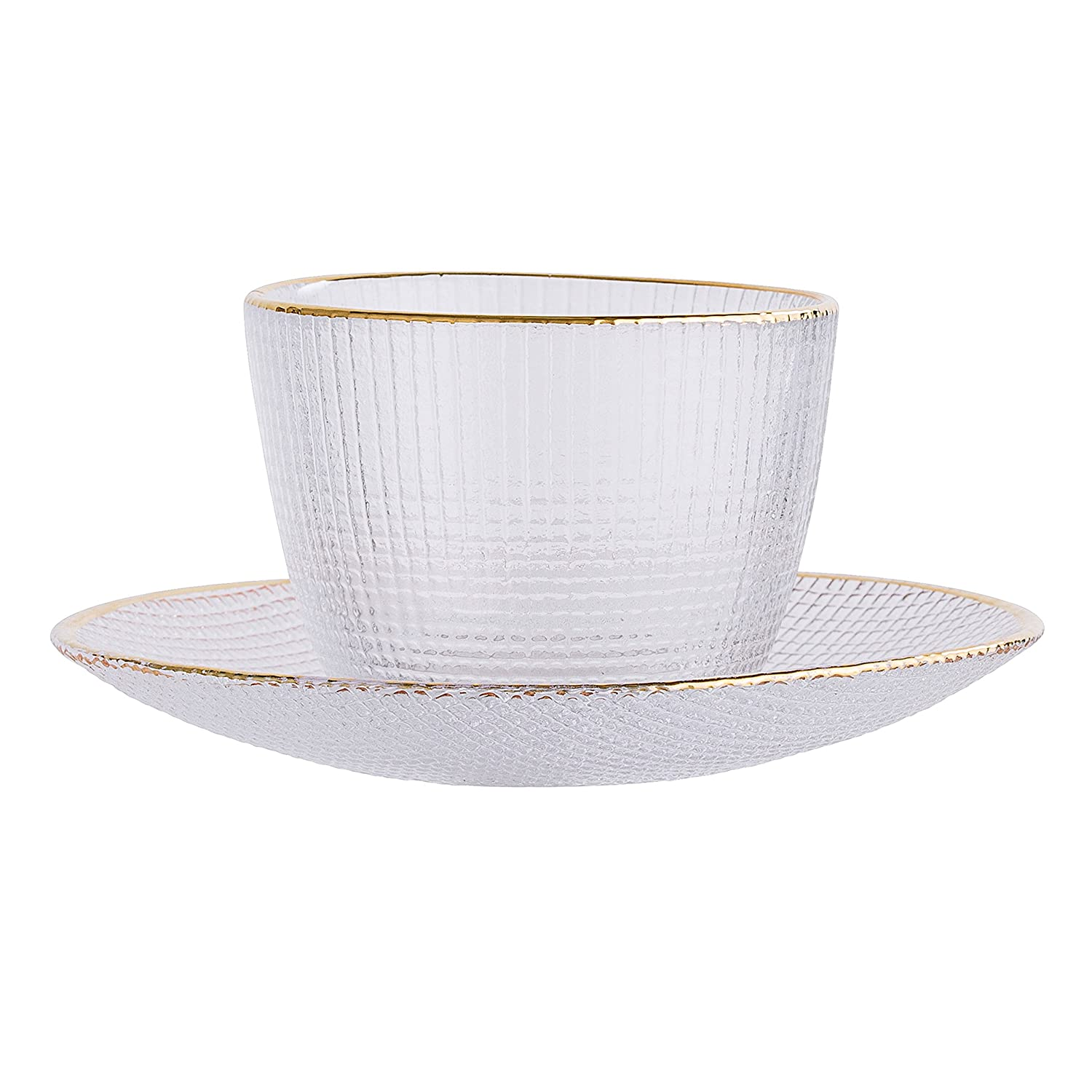 Bloomingville 2 Piece Clear Embossed Cup /& Saucer with Gold Rim