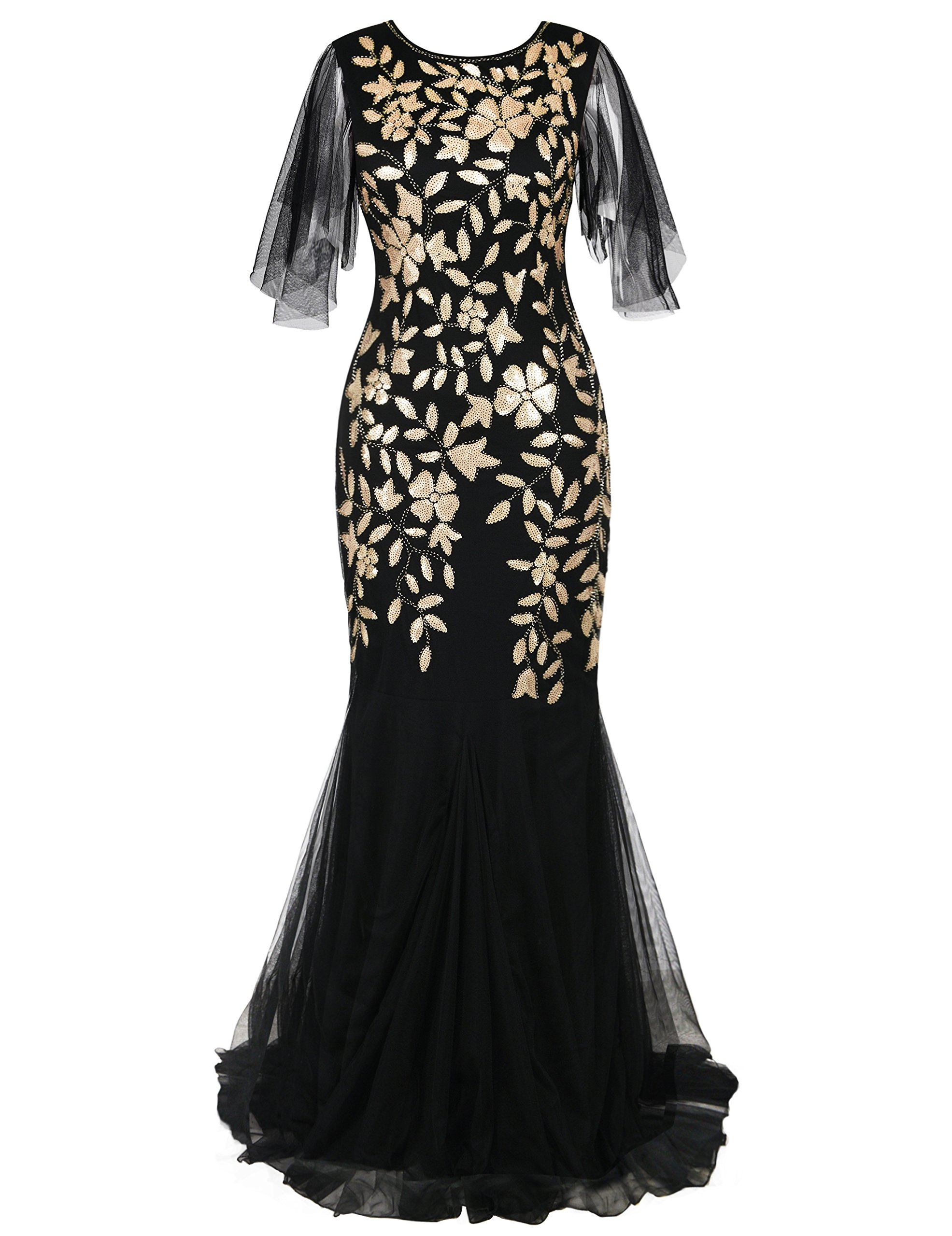 PrettyGuide Women's Evening Dress 1920s Sequin Deco Mermaid Hem Maxi Long Ball Gown Matte Gold L