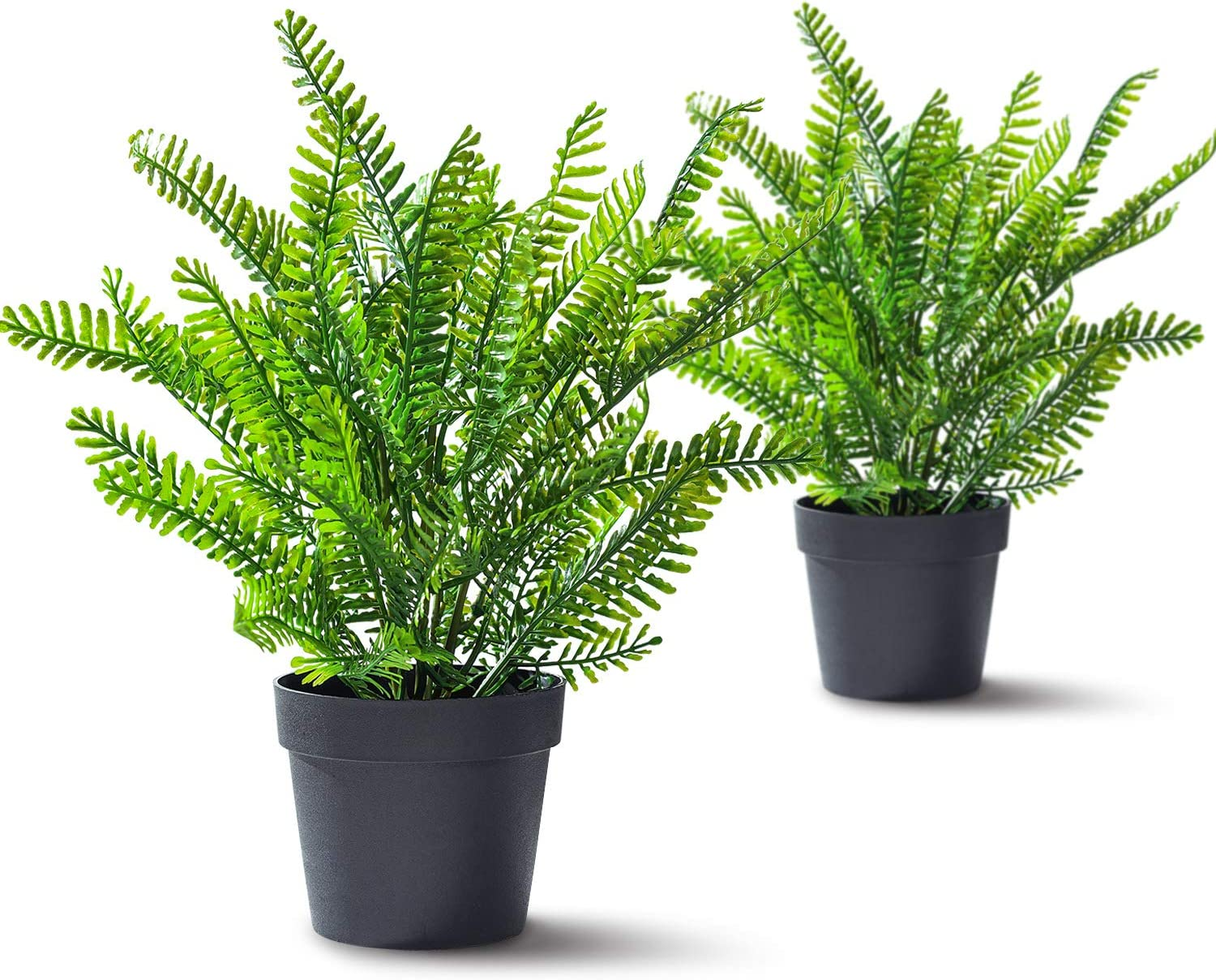 RED SECRET R Artificial Boston Fern Plants Small Potted in Black Pot 2 Pack Plastic Fake Green Plants for Office Home Decor Faux Plants for Hanging Baskets