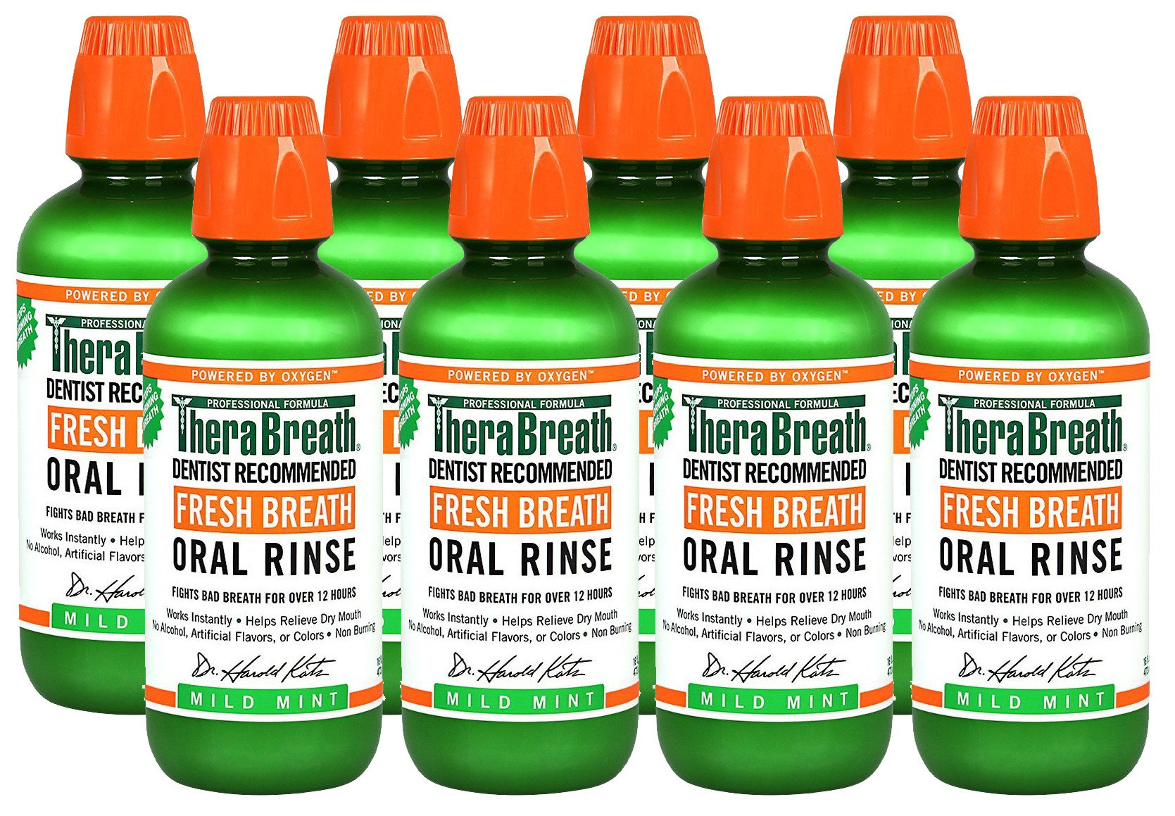 TheraBreath Dentist Recommended Fresh Breath Oral Rinse - Mild Mint Flavor ZOZlZn, 16 Ounce (Pack of 8) by TheraBreath