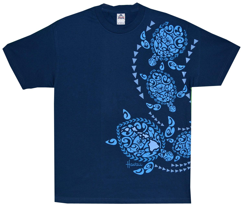 Maui Imprint - RJC Tribal Sea Turtle Pre-Shrunk Cotton T-shirt in Harbor Blue - S
