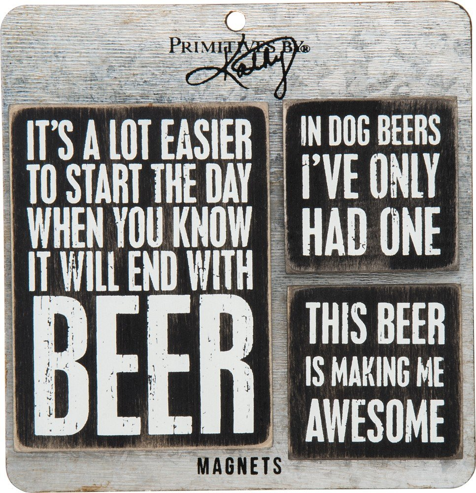Primitives by Kathy Wooden Set, 3-Piece, Beer Magnet