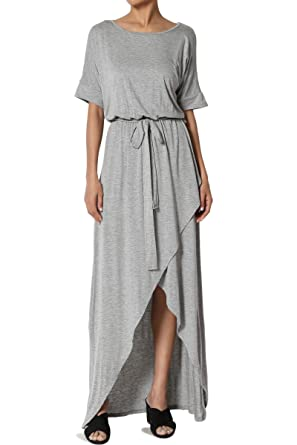 65885ca7303 TheMogan Women s Boat Neck Dolman Sleeve Blouson Wrap Maxi Dress Heather  Grey S