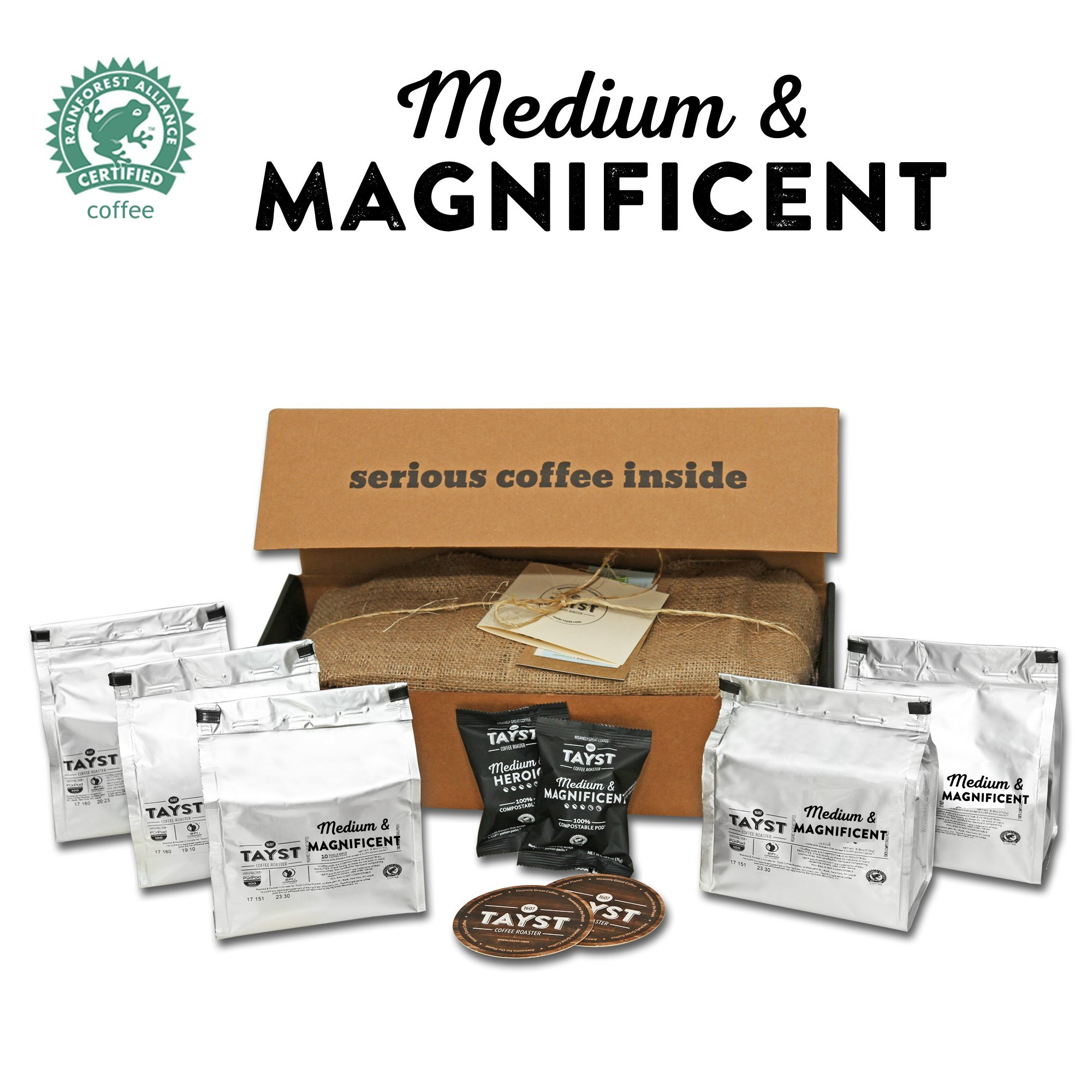 Tayst Medium Roast Coffee Pods | 50 ct. Medium & Magnificent | 100% Compostable Keurig K-Cup compatible | Gourmet Coffee in Earth Friendly packaging by Tayst Coffee Roaster