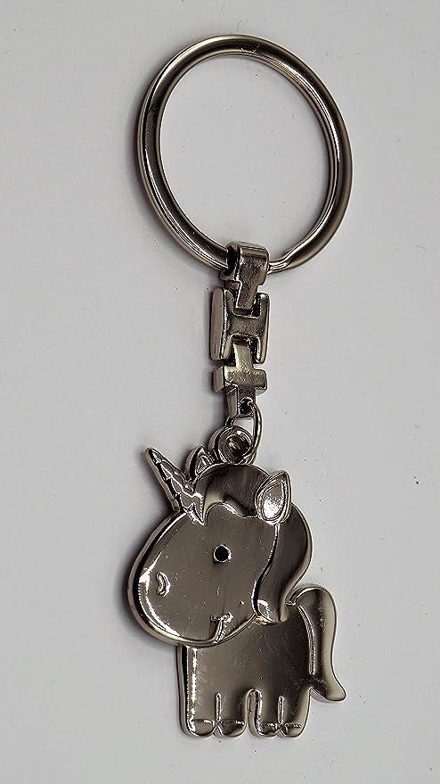 Metall Schlüsselanhänger Einhorn silber poliert Anhänger 10cm Geschenk