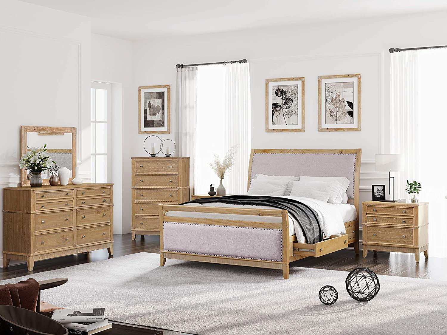 SOFTSEA 6-Piece Furniture Set for Bedroom, Modern Bedroom Sets with Solid Wood Bed Frame, 2 Nightstands, 6-Drawer Double Dresser, 6-Drawer Chest and Mirror, King Size