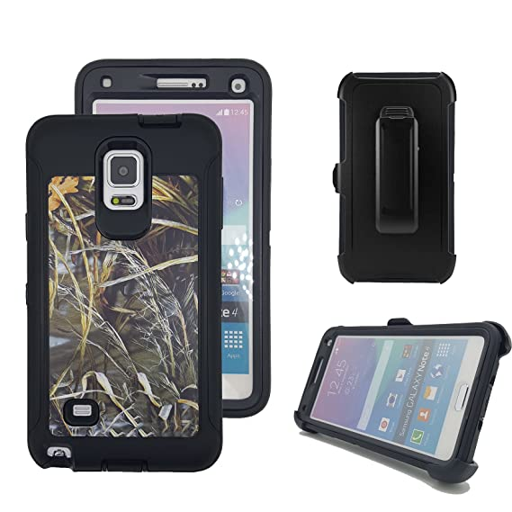 low priced a79d3 f274e Galaxy Note 4 Case, Harsel Defender Series Heavy Duty Camo Tough Rugged  Impact Armor Hybrid Military with Belt Clip Built-in Screen Protector Case  ...