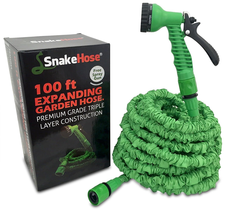 SnakeHose 100ft Expandable Hose Green Flexible Garden Hose Pipe Non Kink  Shrinking Garden Hosepipe Includes 7 Setting Spray Gun, Pressure Washer  Suitable.