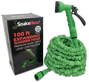 SnakeHose 100ft Expandable Hose Green Flexible Garden Hose Pipe