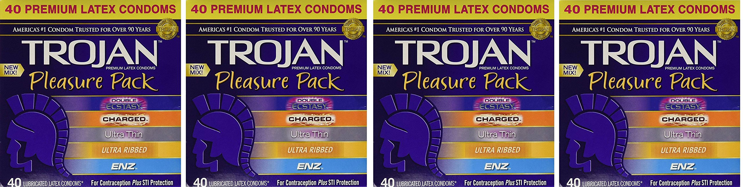 Trojan Pleasure Pack NEW MIX pCtPLs Premium Lubricated Latex Condoms - 40 Count Variety Pack, 4 Pack by Trojan