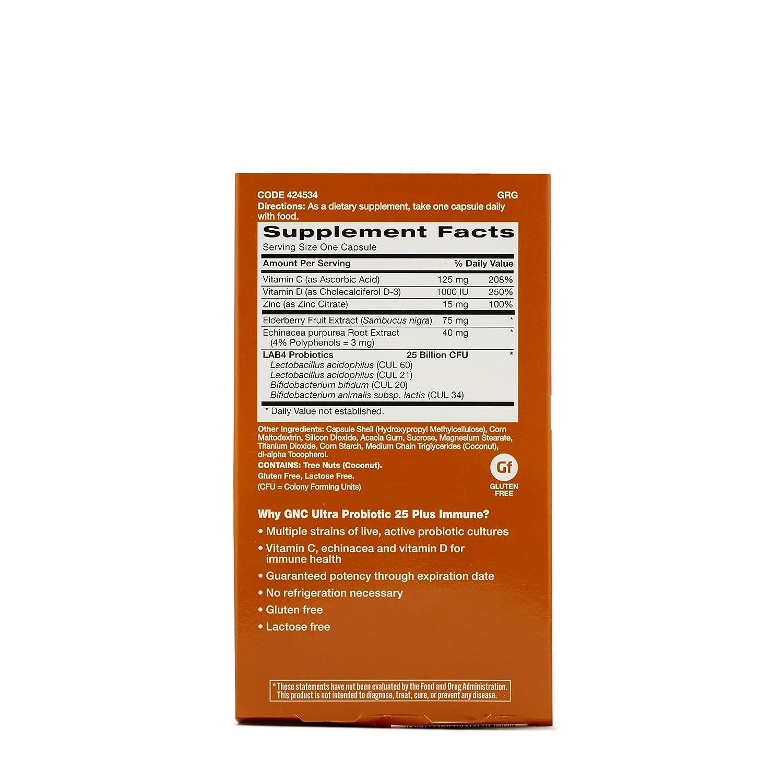 Amazon.com: GNC Ultra 25 Probiotic Complex Plus Immune 30 caps: Health & Personal Care