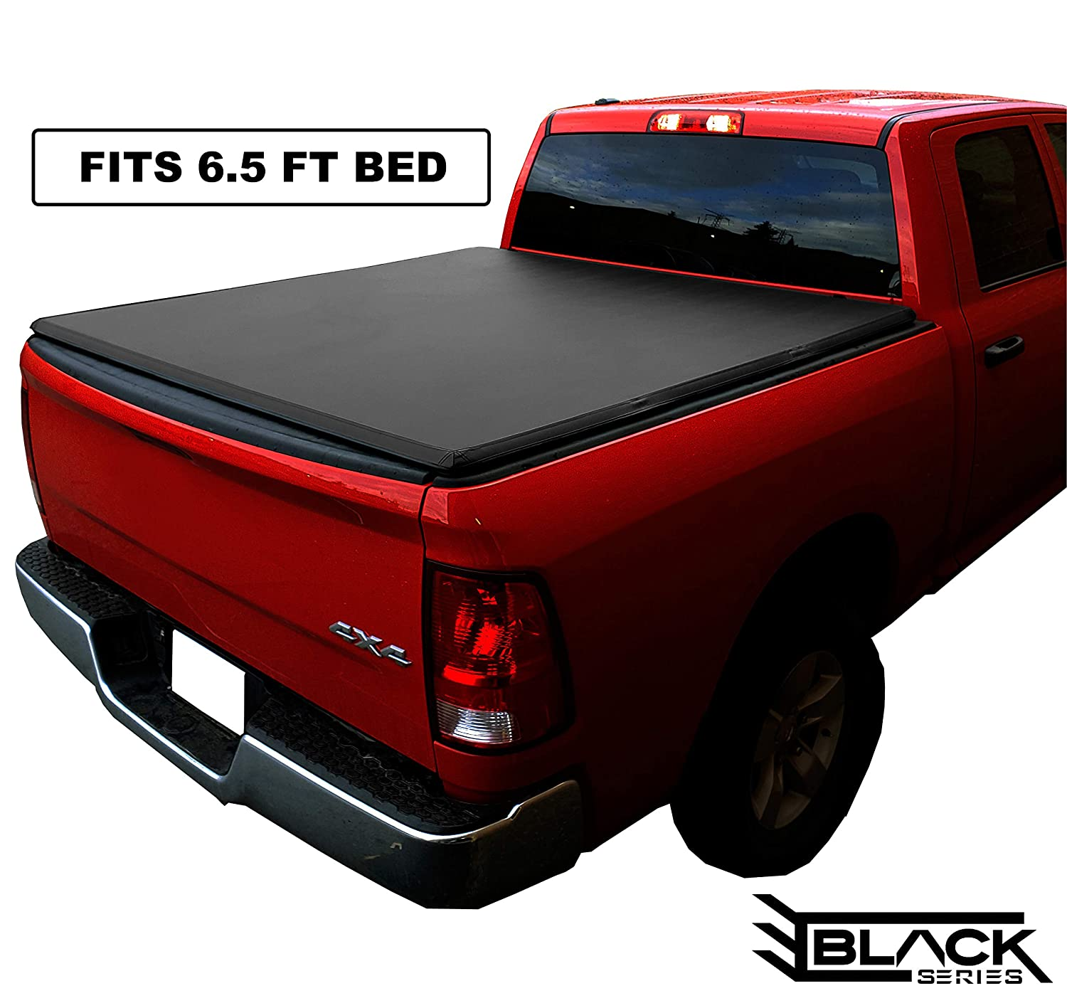 Premium Soft Tri-Fold Tonneau Pickup Truck Cover (Fits 2014-2019 Toyota Tundra 6.5 Feet (76.8 Inches / 2.0 Metres) Bed Box Size) Black Series Canada