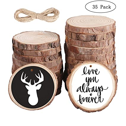 35pcs Natural Unfinished Wood Slices With Bark 2 8 3 2 Craft Wood Kit Predrilled With Hole Rustic Wooden Circles Rounds Great For Christmas