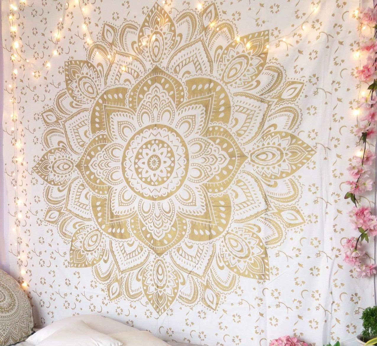 RSG Venture Golden Ombre Tapestry Gold Tapestry Ombre Bedding, Mandala Tapestry, Multi Color Indian Mandala Wall Art Hippie Wall Hanging (Gold, 85x55 Inch)