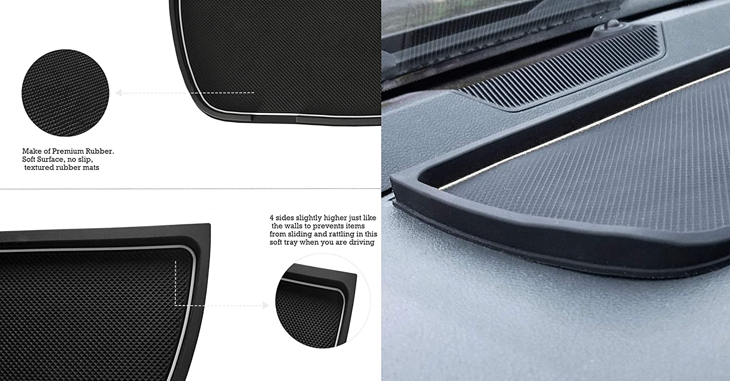 White Dashboard Mats Cover Interior Liner Car Dash Rubber Anti-Slip Liner Mats for Dodge Ram Pickup 1500 2500 3500 2011-2018