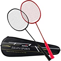Zalava Super Light Badminton Rackets Badminton Racquets Set with Wrapped Overgrip, Badminton Set of 4/2 Pack,Carbon…