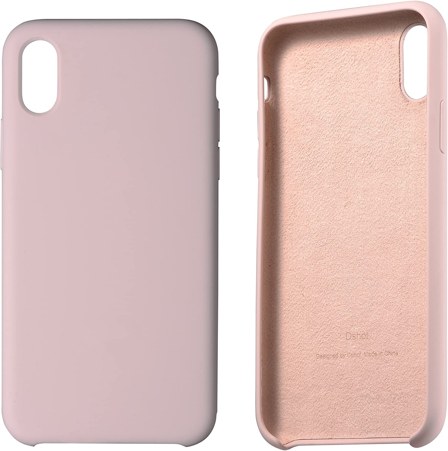 iPhone X case,iPhone 10 Shockproof Case, Liquid Silicone Gel Rubber Slim Fit Soft Mobile Phone Case with Microfiber Cloth Lining Cushion for Apple iPhone X iPhone 10 (M2-Pink)