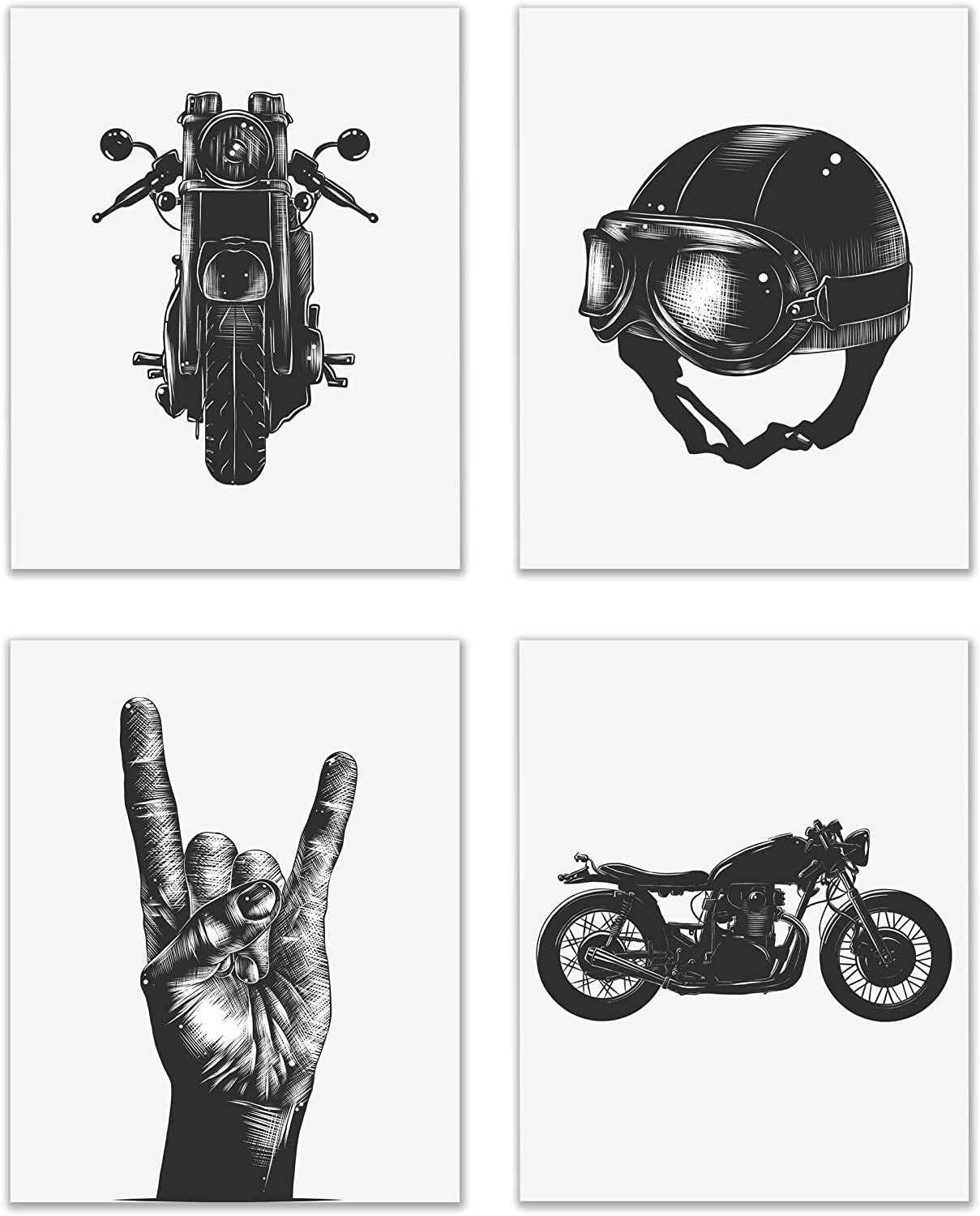 Motorcycle Cafe Vintage Wall Art Decor Prints - Set Of 4 (8x10) Inch Poster Photos