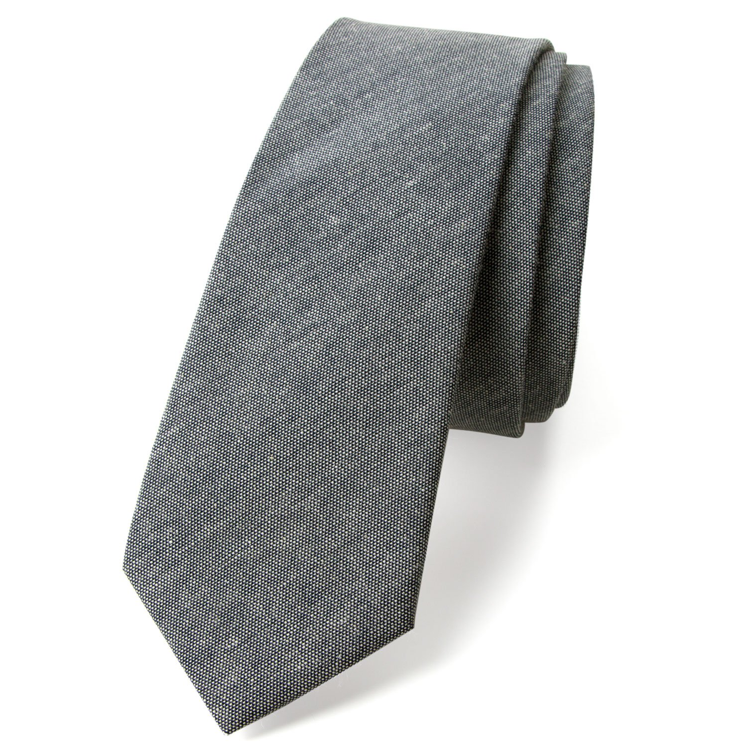 Spring Notion Men's Solid Color Chambray Cotton Skinny Tie, Black