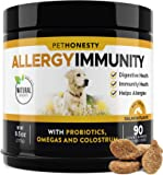 PetHonesty Allergy Relief Immunity Supplement for Dogs - Omega 3 Salmon Fish Oil, Colostrum, Digestive Prebiotics…