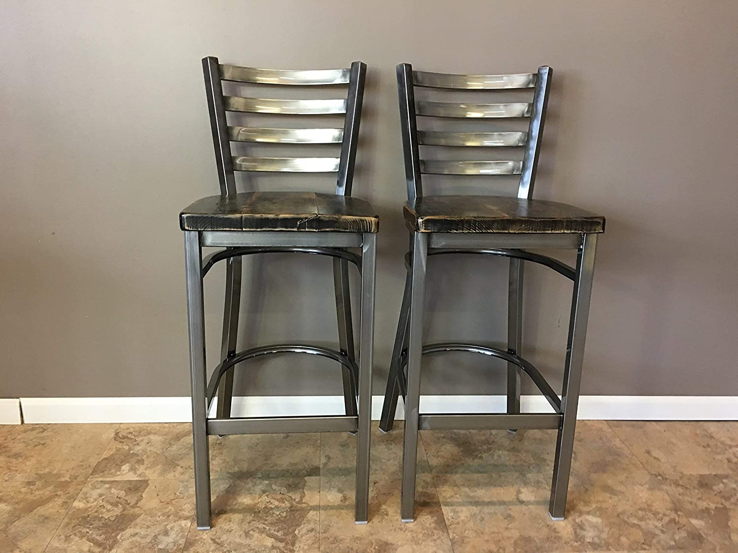 Awe Inspiring Reclaimed Wood Seat Bar Stool Set Of 2 With Gun Metal Gray Ladder Back Metal Frame Restaurant Grade High Quality 30 Inch High Barstool Pdpeps Interior Chair Design Pdpepsorg